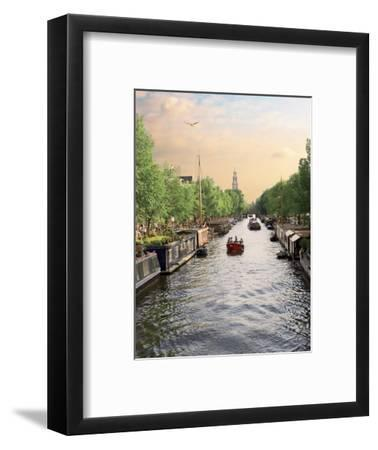 Boats Cruise Along a Canal with the Zuiderkerk Bell-Tower in the Background, Amsterdam, Netherlands