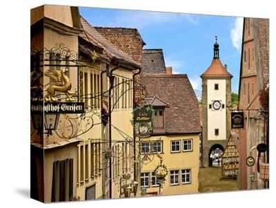Cross Timbered Houses and Clock Tower, Rothenburg Ob Der Tauber, Germany