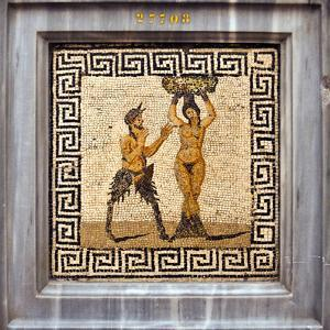 Erotic Tile Mosaic of Pan and Hamadryad from Pompeii, Nat'l Archaeological Museum, Naples, Italy by Miva Stock