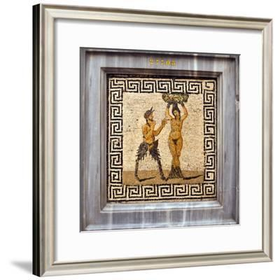 Erotic Tile Mosaic of Pan and Hamadryad from Pompeii, Nat'l Archaeological Museum, Naples, Italy