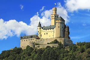 Germany, Castle Marksburg near Braubach, Germany, on the Rhine River, River cruise, Marksburg Castl by Miva Stock