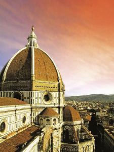 High Angle View of a Cathedral, Duomo Santa Maria Del Fiore, at Sunset Florence, Tuscany, Italy by Miva Stock