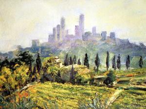 Impressionistic Painting, San Gimignano, Italy by Miva Stock