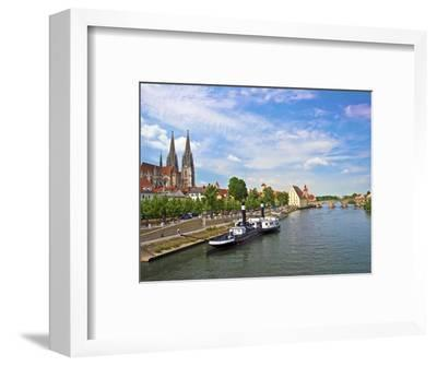 Old Town Skyline with St. Peter's Cathedral and Danube River, Regensburg, Germany