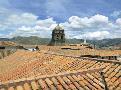 Rooftops and Cusco Cathedral, Cusco, Peru