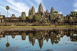 Siem Reap, Cambodia. Ancient ruins and towers of the Bayon Temple Angkor Wat by Miva Stock