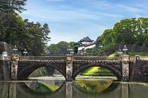 Tokyo, Japan. Imperial Palace, Edo Castle, with Nijubashi Bridge and moat by Miva Stock