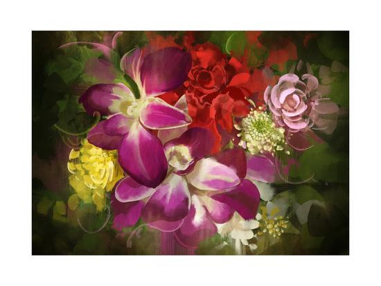 Mixed Flower Bouquet,Digital Painting,Illustration-Tithi Luadthong-Art Print
