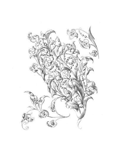 Mixed Flowers and Leaves with Berry Stems--Art Print