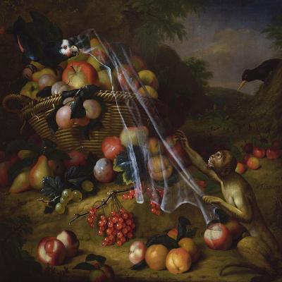 Mixed Fruit with a Monkey, a Parrot, a Jay and Two Finches in Landscapes-Tobias Stranover-Giclee Print