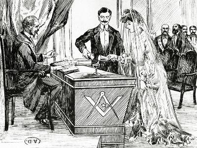 Mixing Wine and Water to Symbolise Union at a Masonic Wedding in France, C.1900--Giclee Print