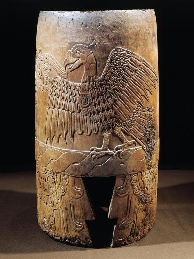 Mixtec Civilization, Mexico, Wooden Drum with Figure of Eagle, from Malinalco--Giclee Print