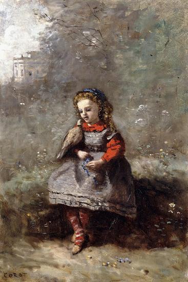 Mlle. Leotine Desavary Holding a Dove, 1872-Jean-Baptiste-Camille Corot-Giclee Print