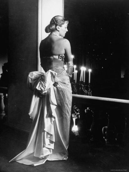 Mme. Jacques Fath Wearing Dress Designed by Her Husband for Their American Tour-Nina Leen-Premium Photographic Print