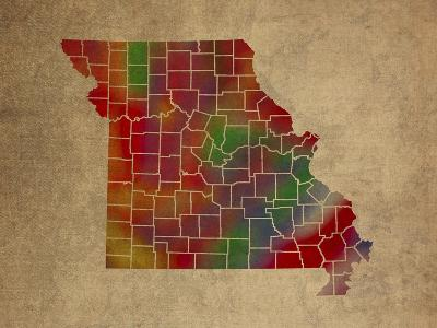 MO Colorful Counties-Red Atlas Designs-Giclee Print