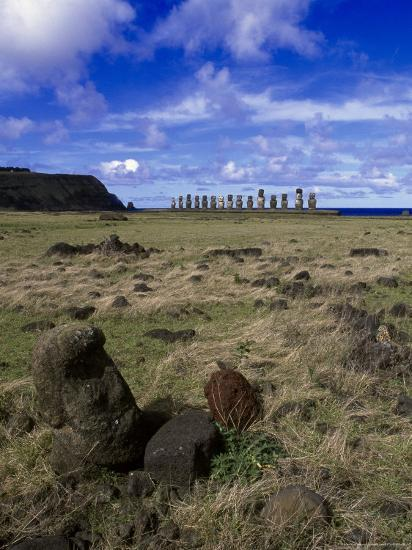 Moai at Ahu Tongariki, Easter Island, Chile-Angelo Cavalli-Photographic Print