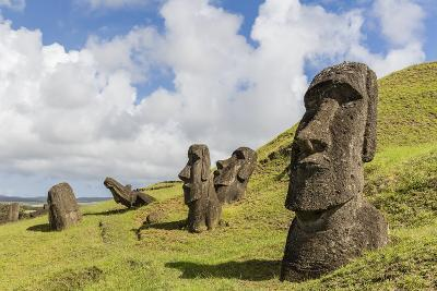 Moai Sculptures in Various Stages of Completion at Rano Raraku-Michael Nolan-Photographic Print
