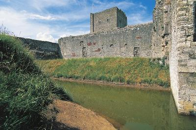 Moat and Walls of Portchester Castle, England, United Kingdom--Photographic Print