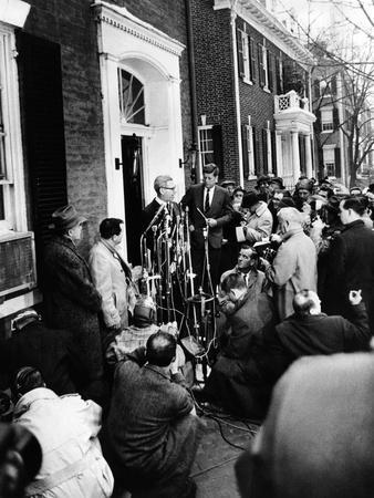 Mob Scene Outside President-Elect John Kennedy's Georgetown Home--Photo