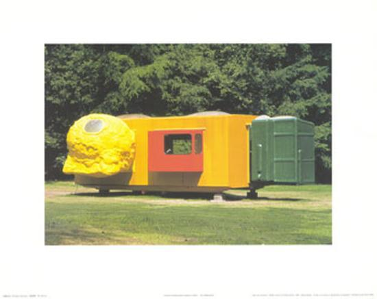 Mobile Home for Kroller Muller, c.1995 Art Print by Joep Van Lieshout on manufactured housing module home, yellow mobile stars, mystic yellow paint color home, burgundy with yellow trim home,