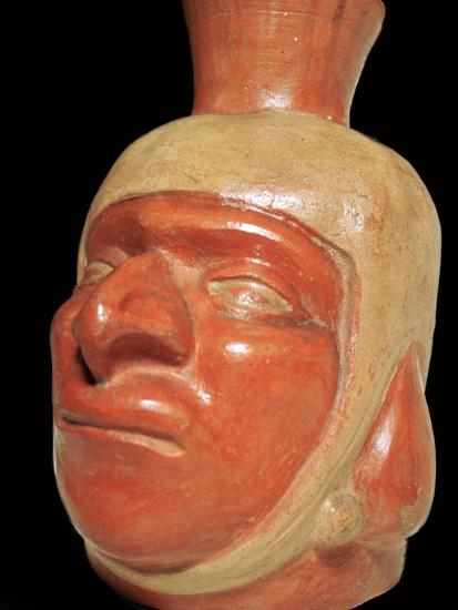 Mochica pottery vessel of a hook-nosed man. Artist: Unknown-Unknown-Giclee Print
