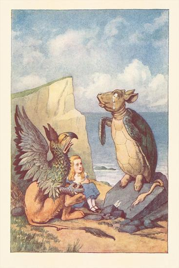 Mock Turtle, Gryphon and Alice--Art Print