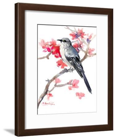 Mockingbird And Spring Blossom-Suren Nersisyan-Framed Art Print