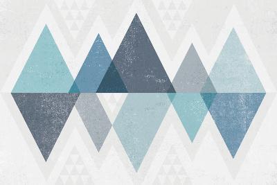 Mod Triangles II Blue-Michael Mullan-Art Print