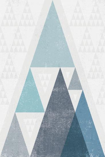Mod Triangles III Blue-Michael Mullan-Art Print