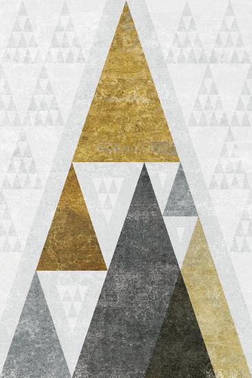 Mod Triangles III Gold-Michael Mullan-Art Print