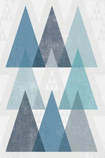Mod Triangles IV Blue-Michael Mullan-Art Print