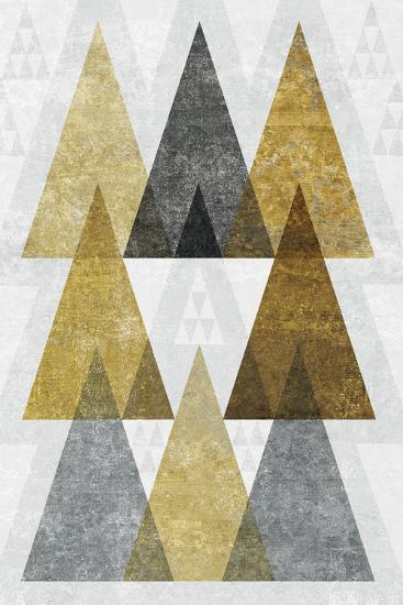 Mod Triangles IV Gold-Michael Mullan-Art Print