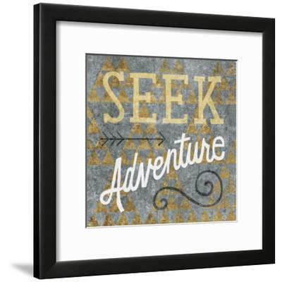Mod Triangles Seek Adventure Gold-Michael Mullan-Framed Art Print