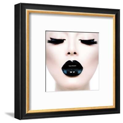 Model Black MakeUp Long Lushes--Framed Art Print