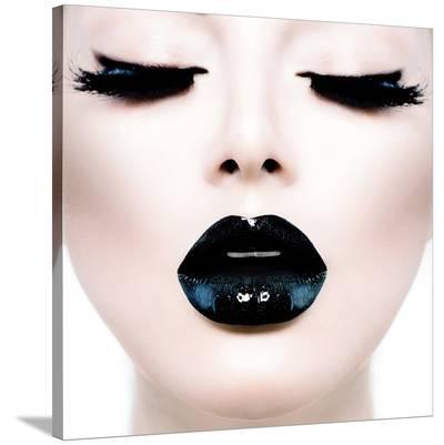 Model Black MakeUp Long Lushes--Stretched Canvas Print