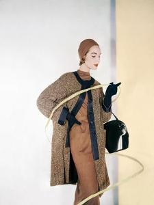 Model Cherry Nelms Wearing a Black Grosgrain Tweed Three-Quarter Coat