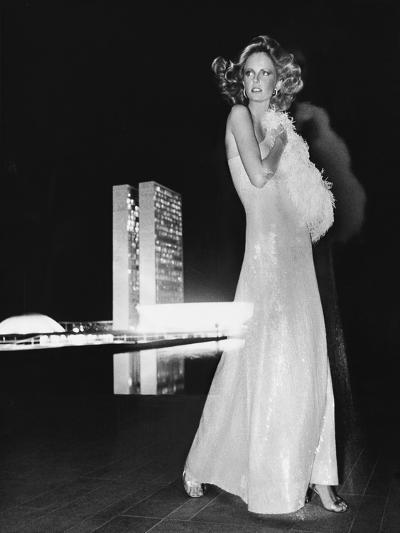 Model Cheryl Tiegs, Standing before the Towers of Congress-Kourken Pakchanian-Premium Giclee Print