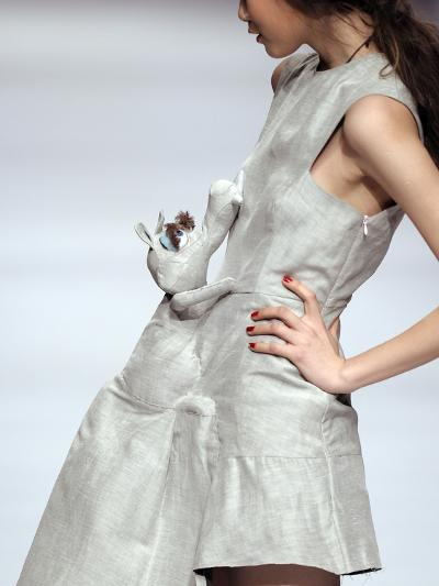 Model Displays a Creation by University Graduates During China Fashion Week in Beijing--Photographic Print