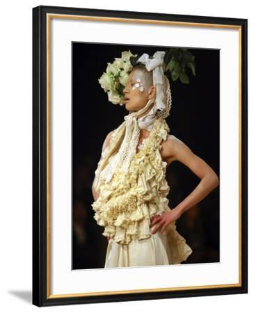 Model Displays Creation by Aya Furuhashi During Tokyo Fashion Week--Framed Photographic Print