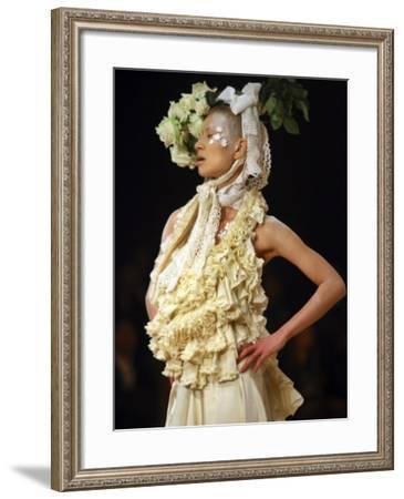 Model Displays Creation by Aya Furuhashi During Tokyo Fashion Week--Framed Photographic Print
