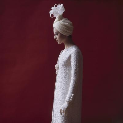 Model Dressed in a White Turban, Gloves, and Brocade Coat by Yves St Laurent, Paris, France, 1962-Paul Schutzer-Photographic Print