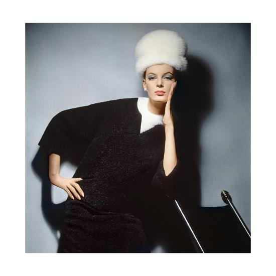 Model in Black Wool Bill Blass Dress with Neck of White Mink and Mink Hat--Premium Photographic Print