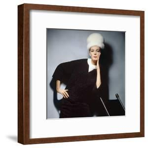 Model in Black Wool Bill Blass Dress with Neck of White Mink and Mink Hat
