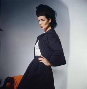 2540fe5a44 Model in Black Wool Ottoman Scaasi Jacket and Belled Skirt with White Blouse