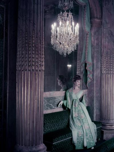 Model in Gold Embroidered Turquoise Lanvin-Castillo Dress in the Theater of King Louis Xv-Henry Clarke-Premium Giclee Print