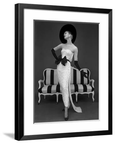 Model in John Cavanagh's Strapless Evening Gown, Spring 1957-John French-Framed Art Print