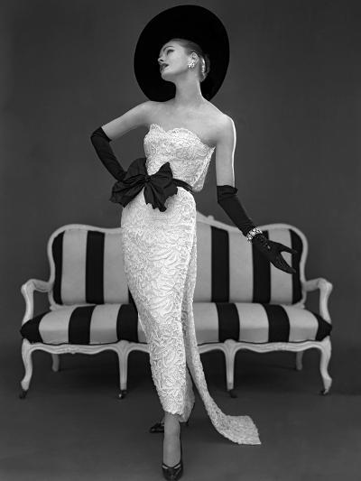 Model in John Cavanagh's Strapless Evening Gown, Spring 1957-John French-Giclee Print