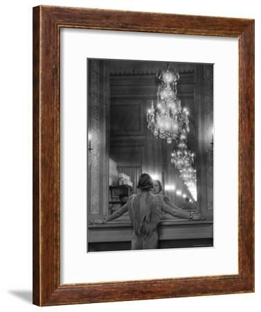 Model in Ostrich Feather Trimmed Gown Pausing to Regard Herself in Grand Mirror of Molyneux Atelier-Alfred Eisenstaedt-Framed Premium Photographic Print