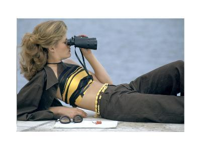 Model Is Reclining Wearing Brown Pant Suit with Yellow and Brown Halter by Ken Scott-Gianni Penati-Premium Giclee Print