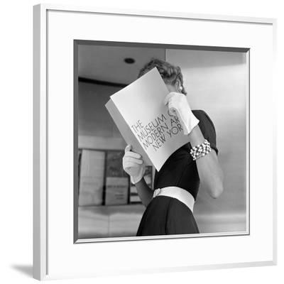 Model Jean Patchett Modeling Cheap White Touches That Set Off Expensive Black Dress-Nina Leen-Framed Photographic Print